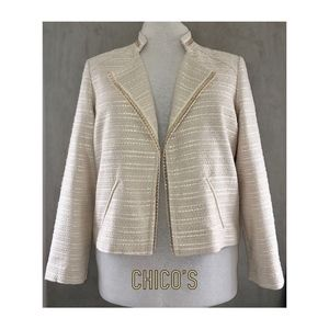 CHCOS 3 Ivory Cotton Gold Chain Open Topper Jacket
